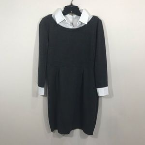 {Acevog} Gray Knit dress with Built in White Top